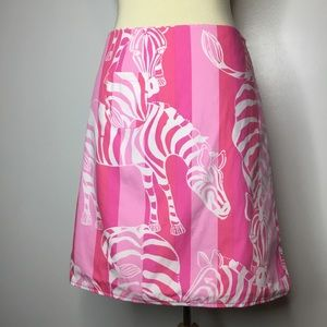 Lilly Pulitzer Reversible Wrap Skirt Zebras 6 Pink